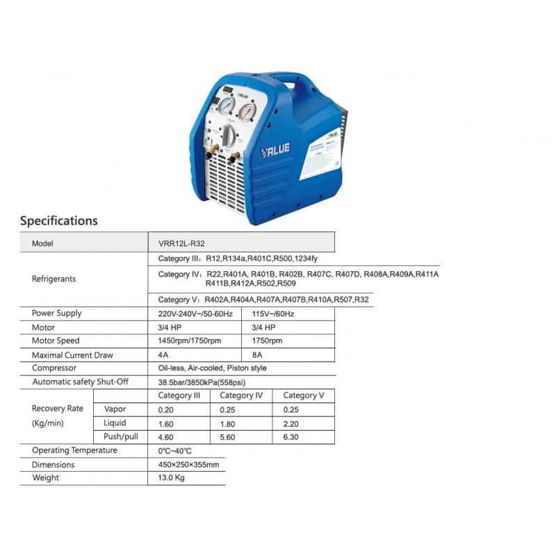 Naprava za zajemanje hladilnih sredstev VRR12L-R32